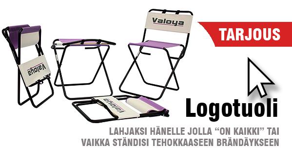 Brändätty tuoli. Logotuoli TETRIXiltä. Hinta kotimainen painettuna.