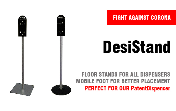 Makes dispensers and sanitation solutions accessible with a floor standing stand.
