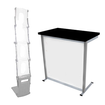 Rapid counters and leaflet holders for exhibitions