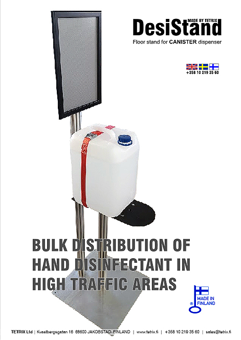 DesiStand CANISTER bulk feed system for hand sanitizer